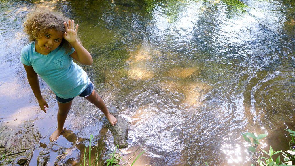 Aniya in the stream