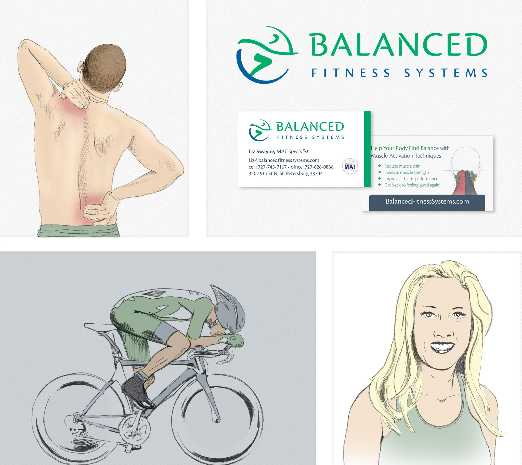 Balanced Fitness Systems Illustration and Branding Showcase